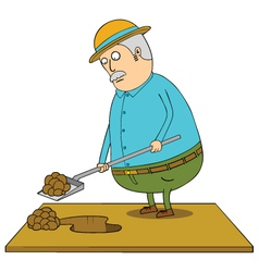 Digging old fat man vector image