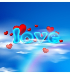 love with red hearts and blue letters on the sky vector image
