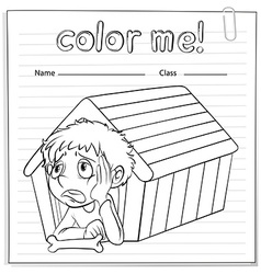 A worksheet showing a young boy vector