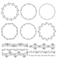 Vintage floral elements black on white background vector