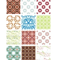 Set seamless geometric patterns - circles swirls vector