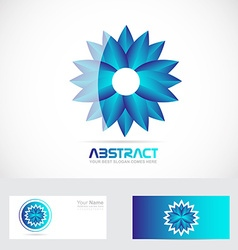 Blue flower logo 3d vector