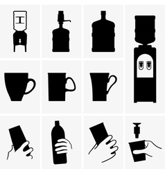 Water coolers and cups vector