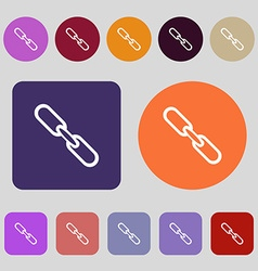 Link sign icon hyperlink chain symbol 12 colored vector