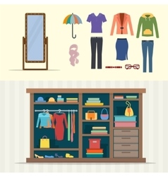 Wardrobe for clothes vector