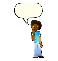 Cartoon boy wondering with speech bubble vector