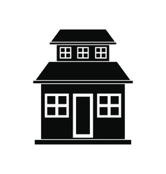 Cottage with a mansard black simple icon vector