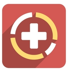Health care diagram flat rounded square icon with vector