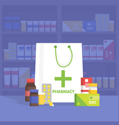Modern interior pharmacy and drugstore vector