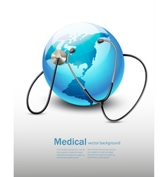 Stethoscope against a globe vector image