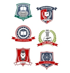 Academy university and college icons vector
