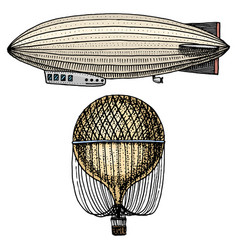 airship or zeppelin and dirigible or blimp air vector image