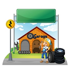 An empty signboard near the garage shop vector image vector image