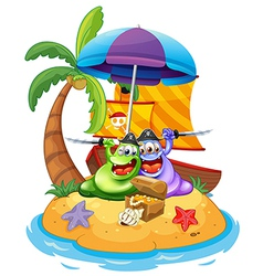 An island with two pirate monsters vector image vector image