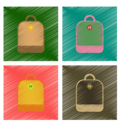 Assembly flat shading style icons school bag vector