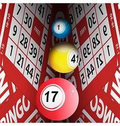 Bingo cards tunnel and bingo balls vector