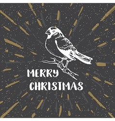 Black vintage christmas background with bullfinch vector