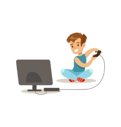 Boy playing console video games traditional male vector