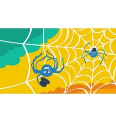 Character spider and cobweb vector