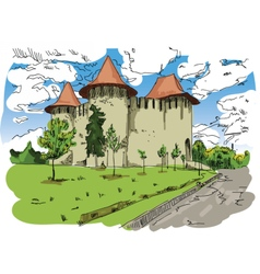 Digital painted soroca castle vector
