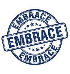 Embrace blue grunge stamp vector
