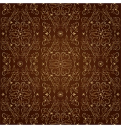 Floral vintage seamless pattern on brown vector image vector image