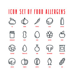 Food allergens icons set in thin line style vector