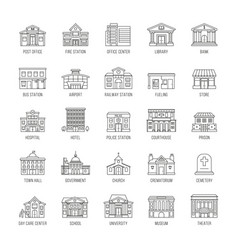 government buildings thin line icons set vector image vector image