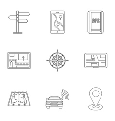 Gps map icons set outline style vector