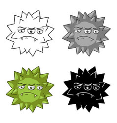 green virus icon in cartoon style isolated on vector image