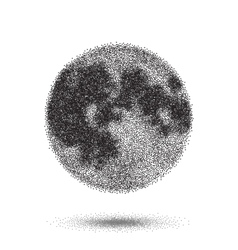 Halftone moon icon tattoo style dotwork vector