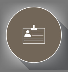 Id card sign white icon on brown circle vector