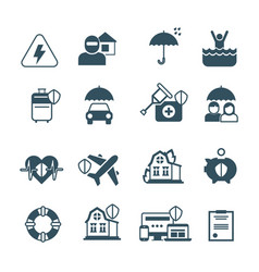 insurance icons protection and safety vector image