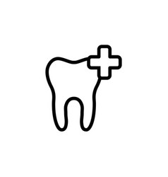 line add tooth icon on white background vector image vector image