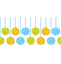 Matching colorful birthday party paper pom vector