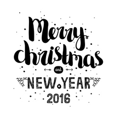 Merry christmas card with hand drawn lettering vector image vector image