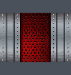 metal brushed background with red perforated plate vector image vector image