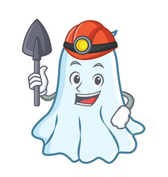 miner cute ghost character cartoon vector image vector image