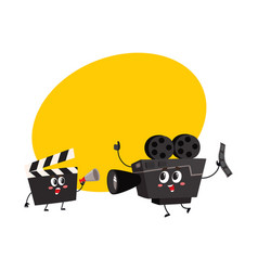 Movie shooting camera film reel characters with vector
