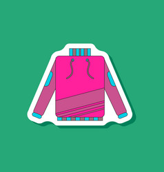 Paper sticker on stylish background skiing sweater vector