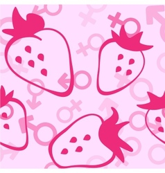 Pink Srtawberry Seamless Pattern vector image