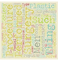 Plastic surgery text background wordcloud concept vector