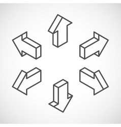 set of isometric arrows vector image
