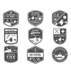 Ski club patrol campsite labels collection vector