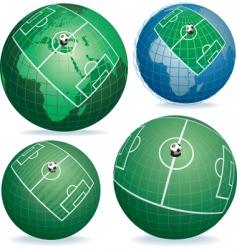 soccer field on globe vector image vector image