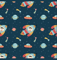 Space travels seamless pattern cartoon vector
