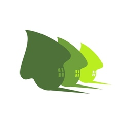 Three cute green eco houses vector image