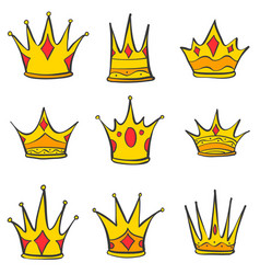 various gold crown style doodles vector image