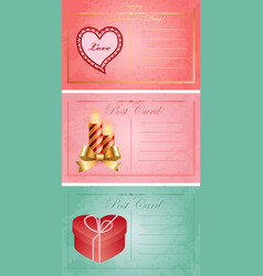 Vintage valentine day postcards vector