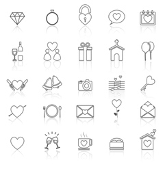 Wedding line icons with reflect on white vector